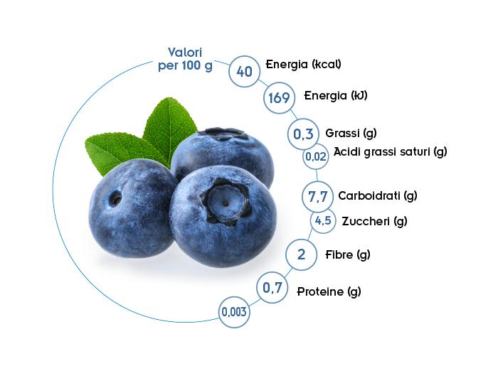 valori nutrizionali mirtilli Spreafico